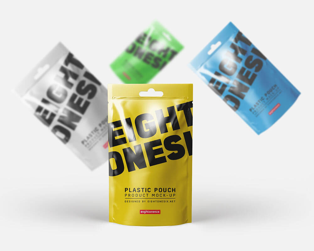 Yellow Photoshop Pouch Mock-up Template