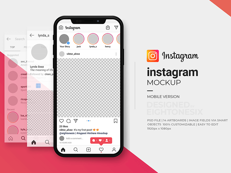 Instagram Mock-Up Template PSD